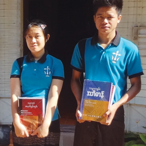 On your behalf, a Bridgeway Bible Commentary and Bible Dictionary are presented to students graduating from Holy Cross Anglican Theological College and the Myanmar Evangelical Graduate School of Theology.